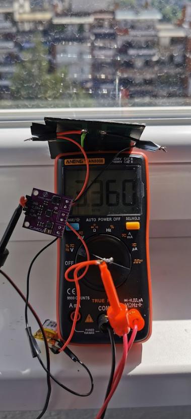 Battery charge level 3.36V. Taken at 10:40 AM