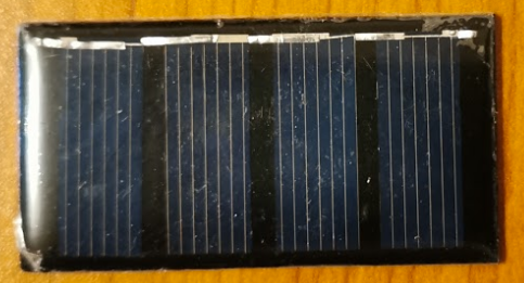 The polycrystalline solar cell, 30.5 x 58.5 mm (~1.2 x 2.3 in)