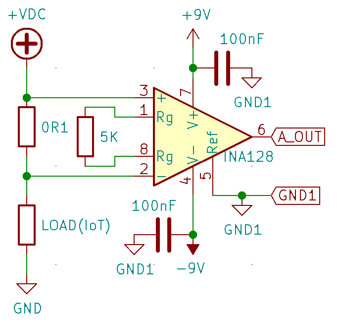 INA128 Current measurement schematic
