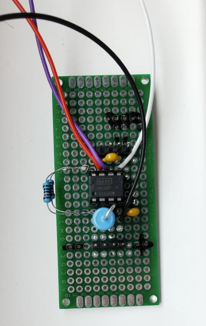 INA128 and PCB board, top view.